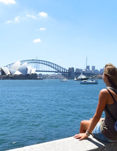 Girl watching the Harbour Bridge and Opera House